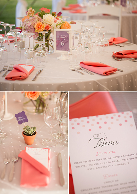 pink and purple table settings