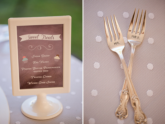 dessert menu and mr and mrs forks