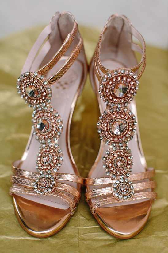 gold bejeweled wedding shoes