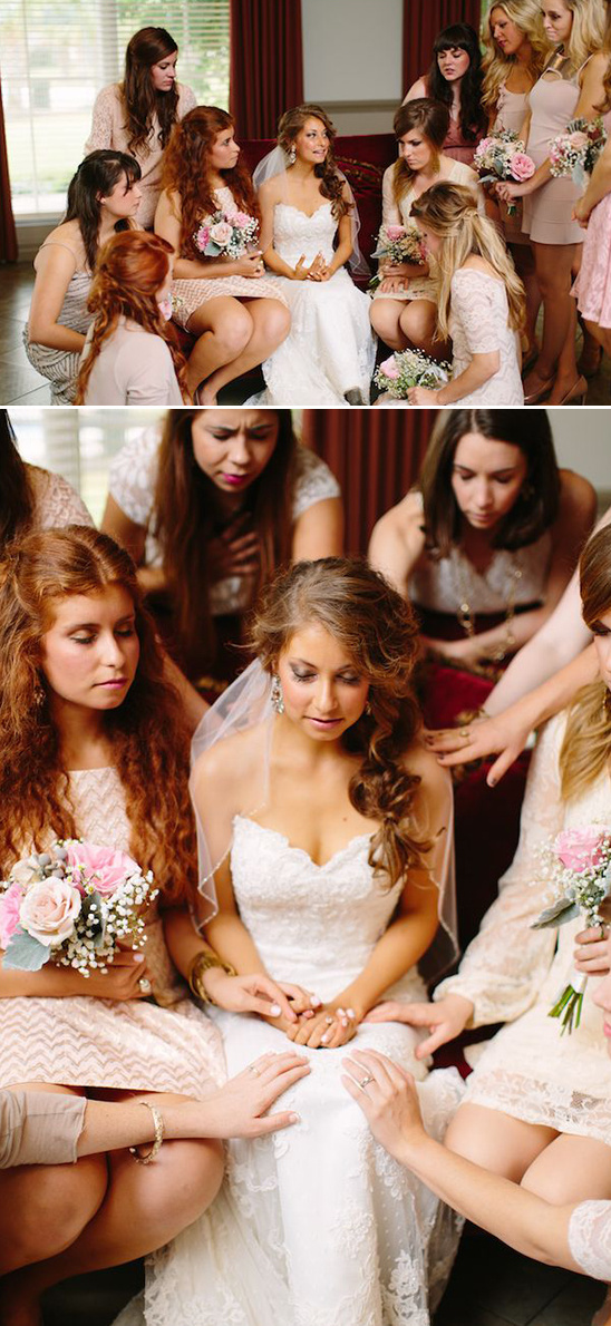 touching moment with bridesmaids