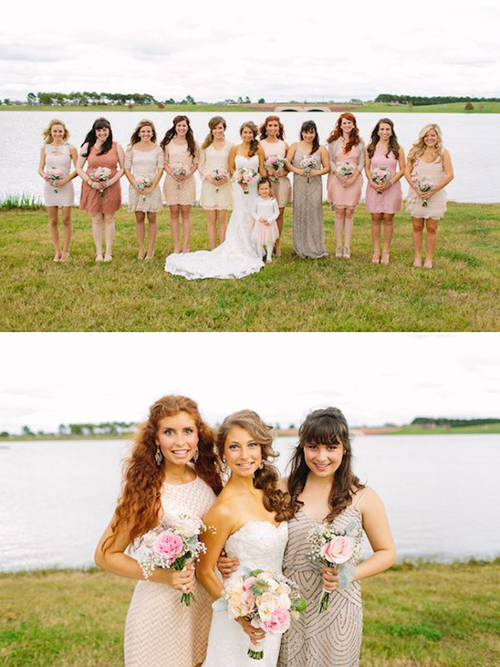 variety of pink and cream bridesmaids dresses