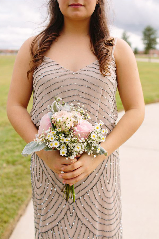 maid of honor dress and bouquet