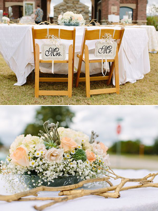 sweetheart table with chair signs