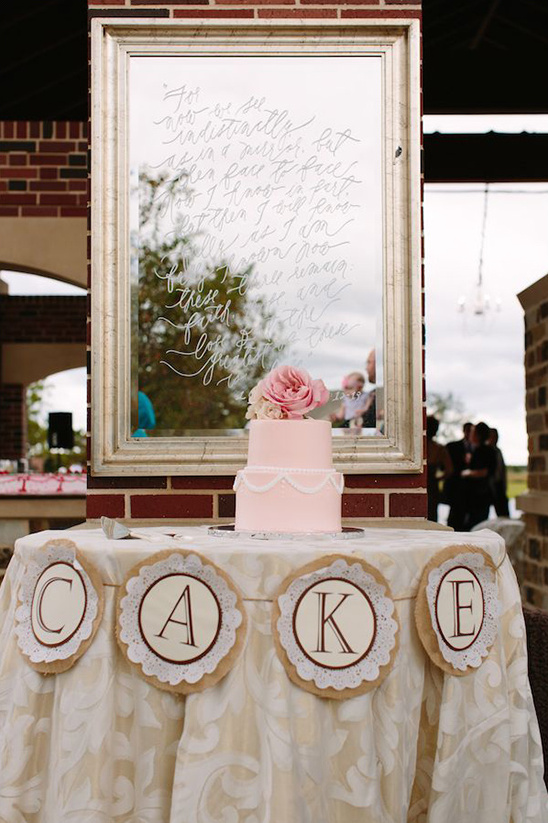 wedding cake table with banner