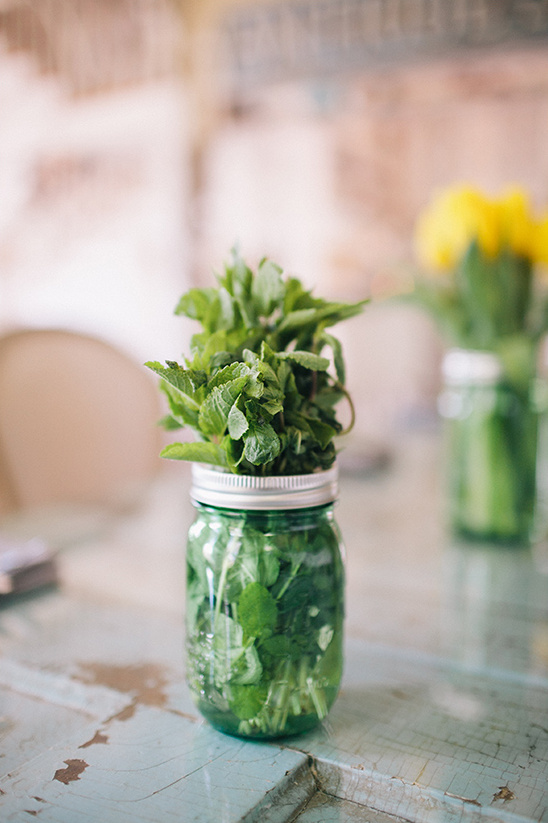 use mint sprigs as centerpiece