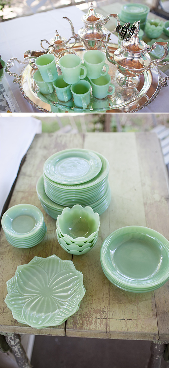 beautiful green vintage glassware
