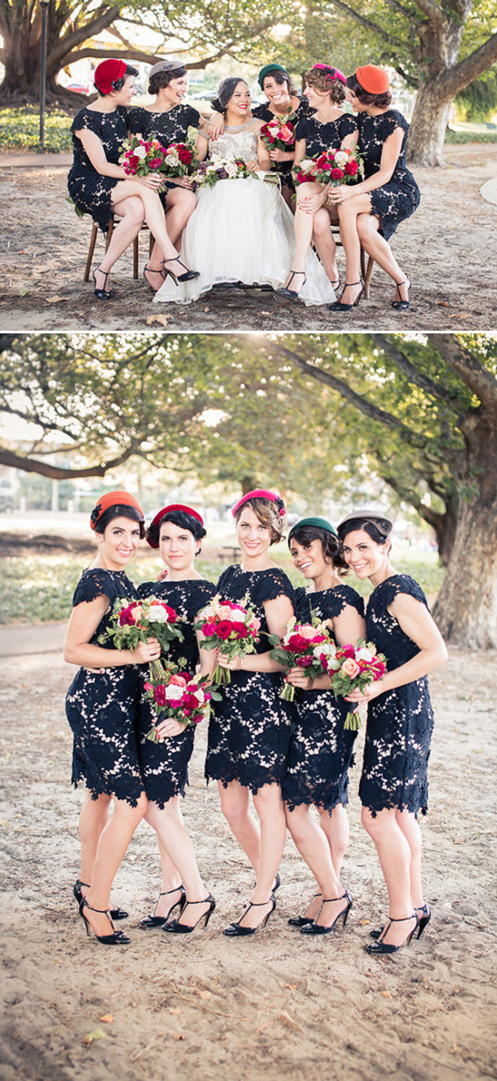 vintage bridesmaids attire
