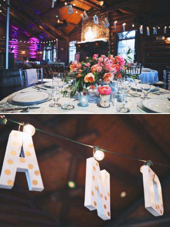 string lights turned into a cute wedding sign