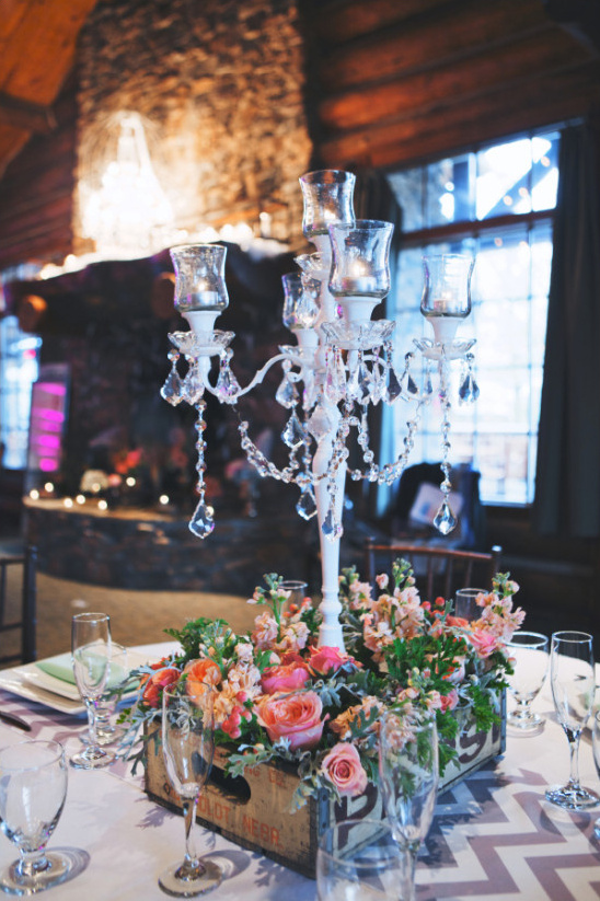 crystal draped candelabra centerpiece