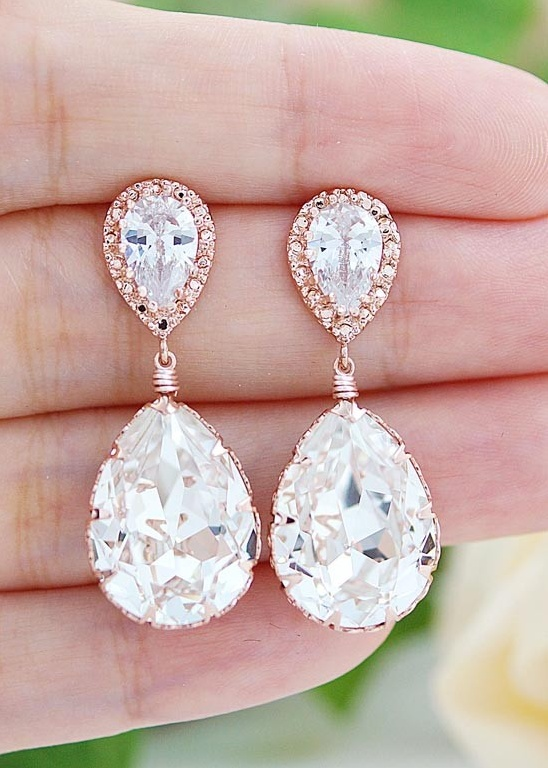 Rose Gold with Swarovski Crystal Bridal Earrings