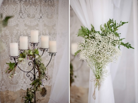 ceremony candelabra and babys breath arch accents