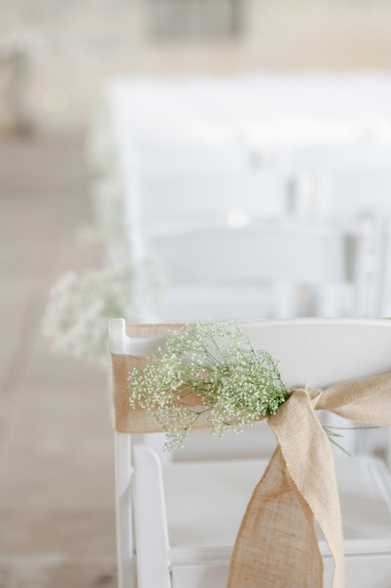 burlap and babys breath aisle decor