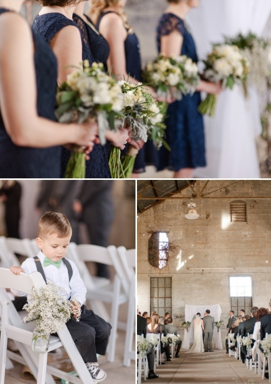 navy bridesmaids and ring bearer in mint bow tie and suspenders