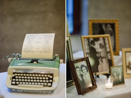 antique type writter and family photos