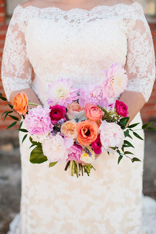 warm peach and pink wedding bouquet