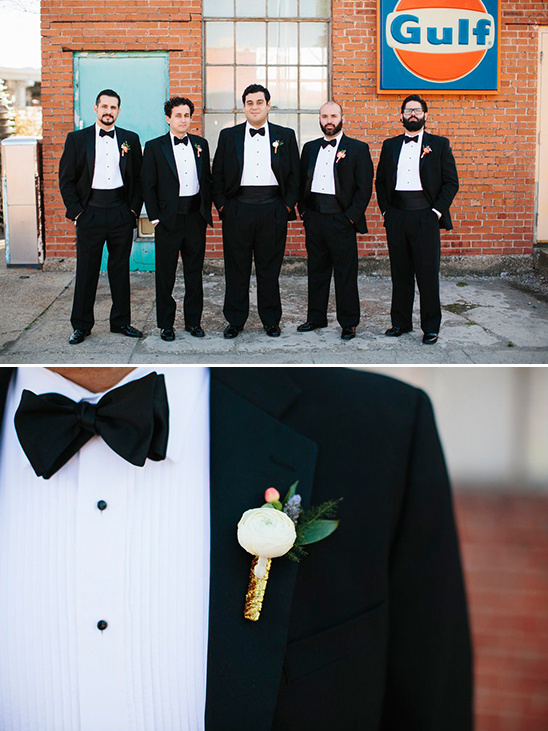 classic groomsmen with gold wrapped boutonnieres