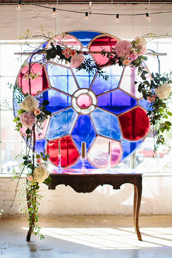 stained glass window ceremony backdrop