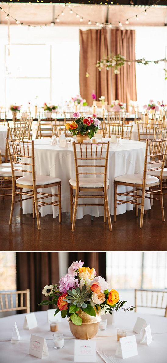 gold and floral filled reception