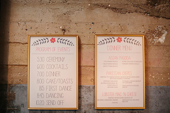 framed wedding program and menu