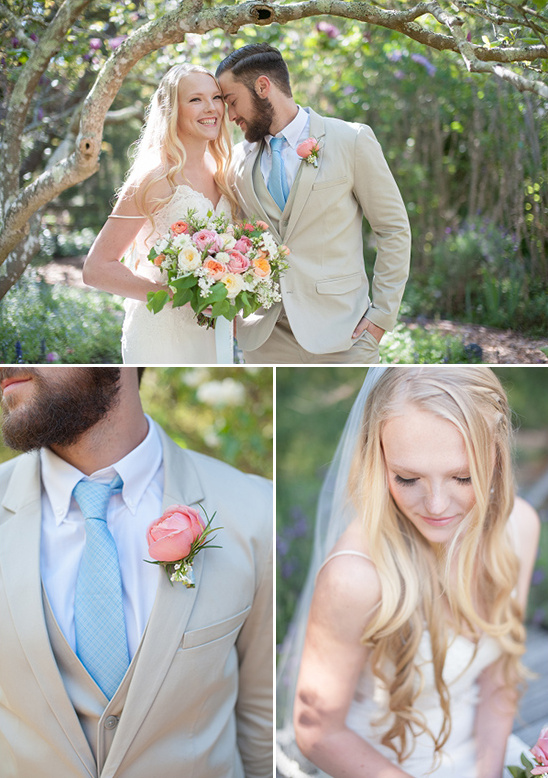 blue tan and white wedding couple
