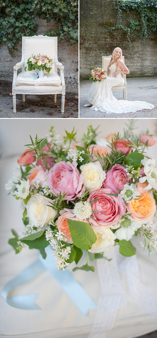 garden rose bouquet in pink peach and white