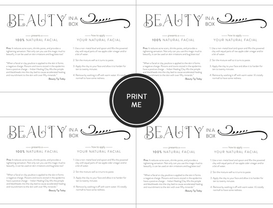 beauty in a box labels