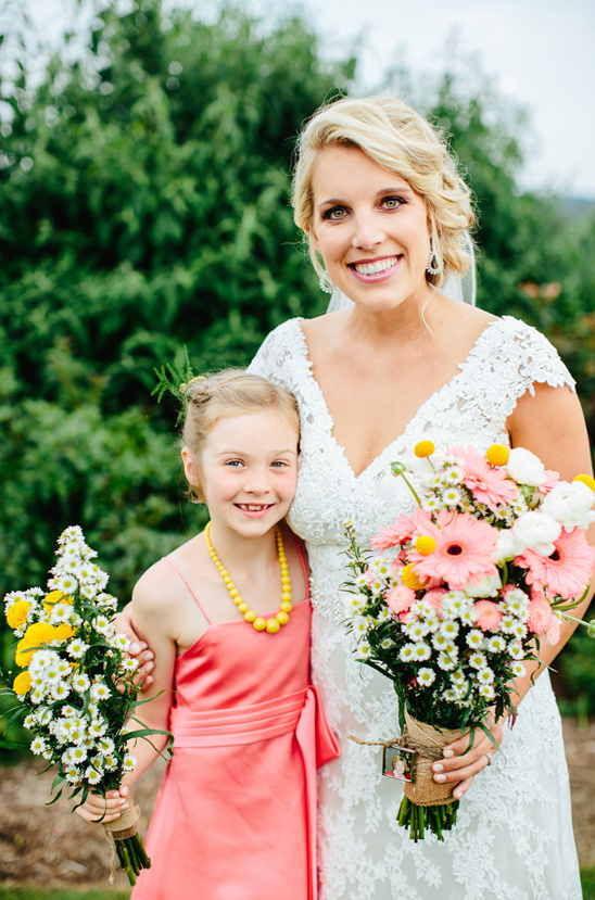 junior bridesmaid in pink and yellow
