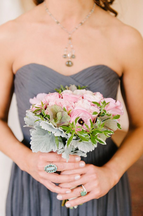 grey bridesmaid dress and pink bouquet