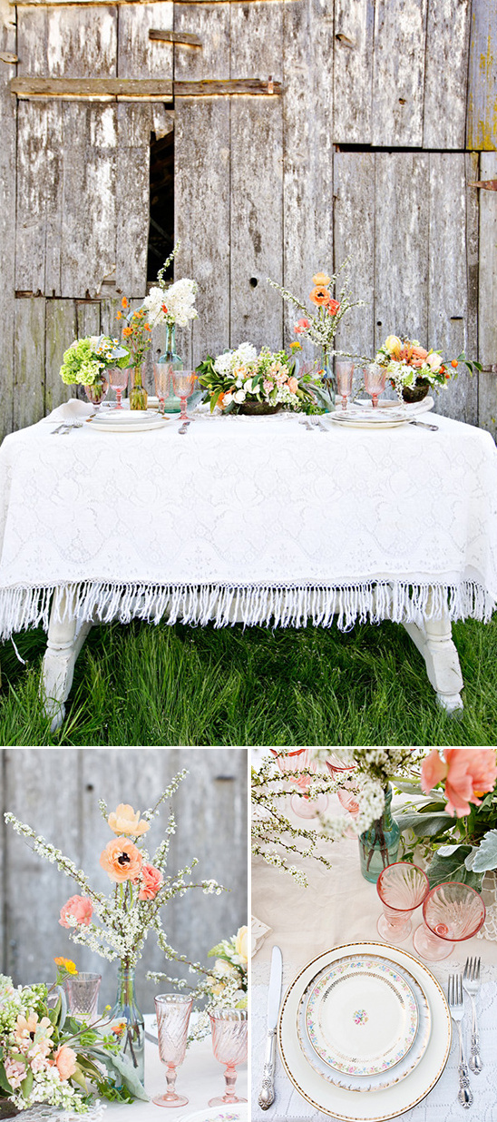 fresh bright spring floral tablescape