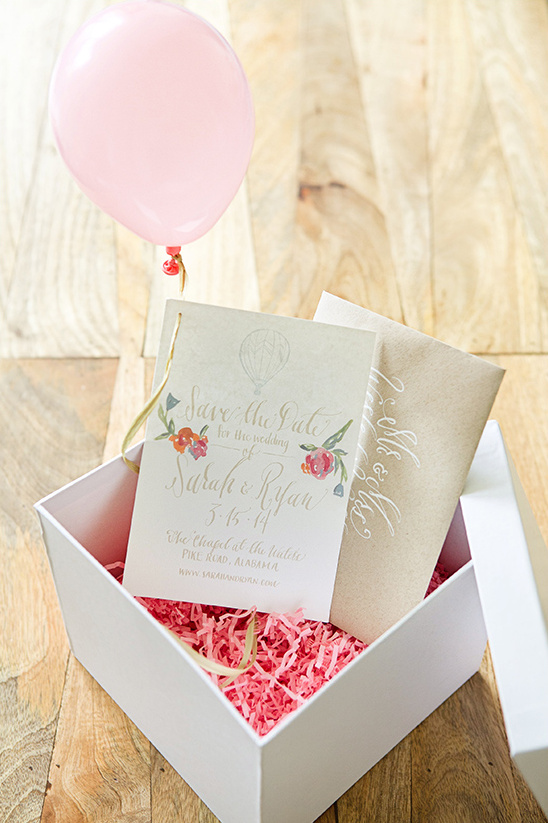 save the date balloon in a box