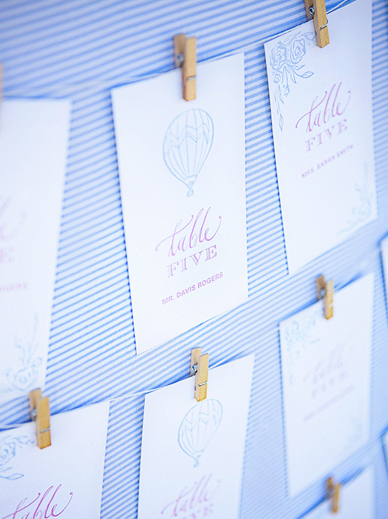 hot air balloon watercolor escort cards