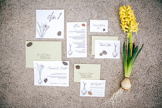 flower bulb wedding stationery