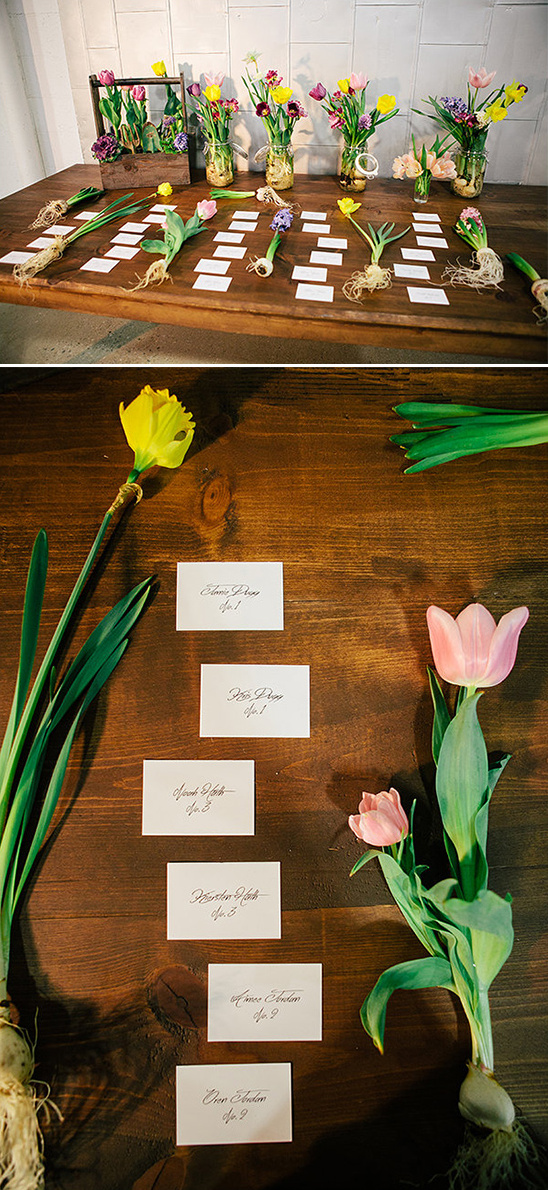 naked bulb floral escort card display