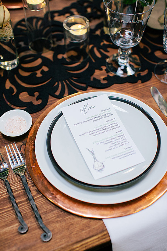 place settings with hammered copper chargers
