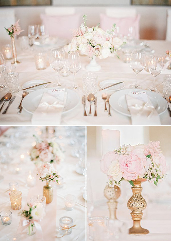 pink and ivory floral arrangements
