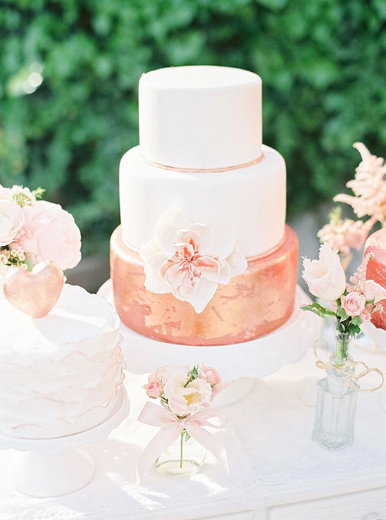 shimmer blush and white wedding cake