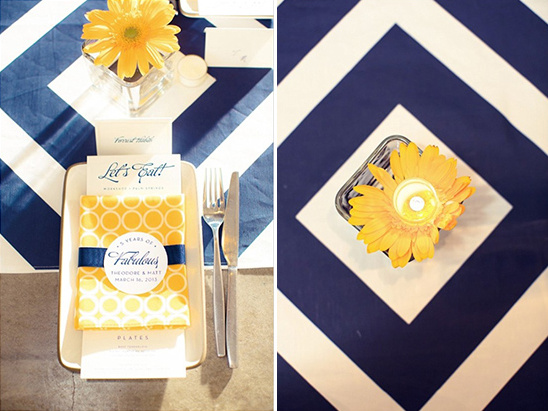 yellow navy place settings
