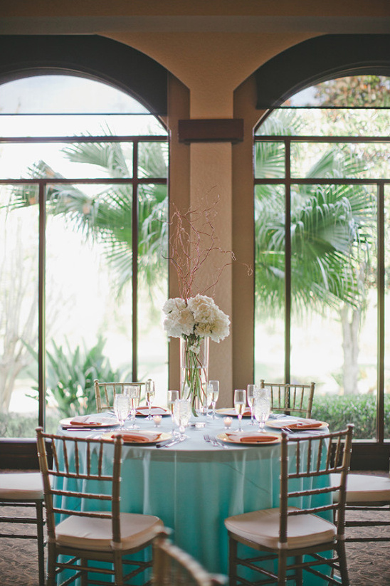 mint and peach reception