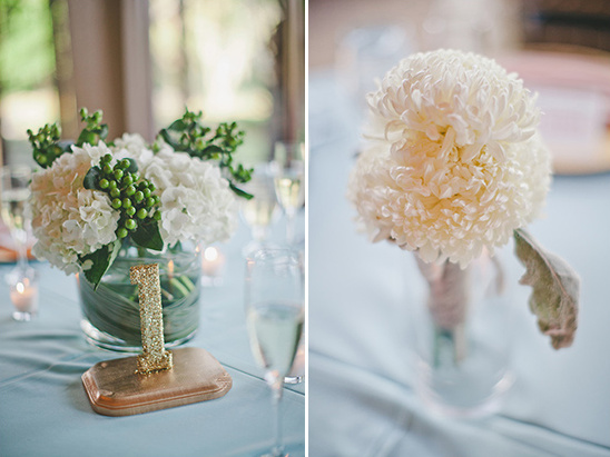 white and green berry floral centerpieces