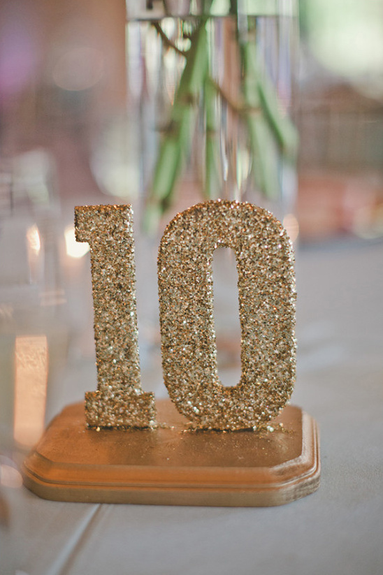glitter and mount your table numbers