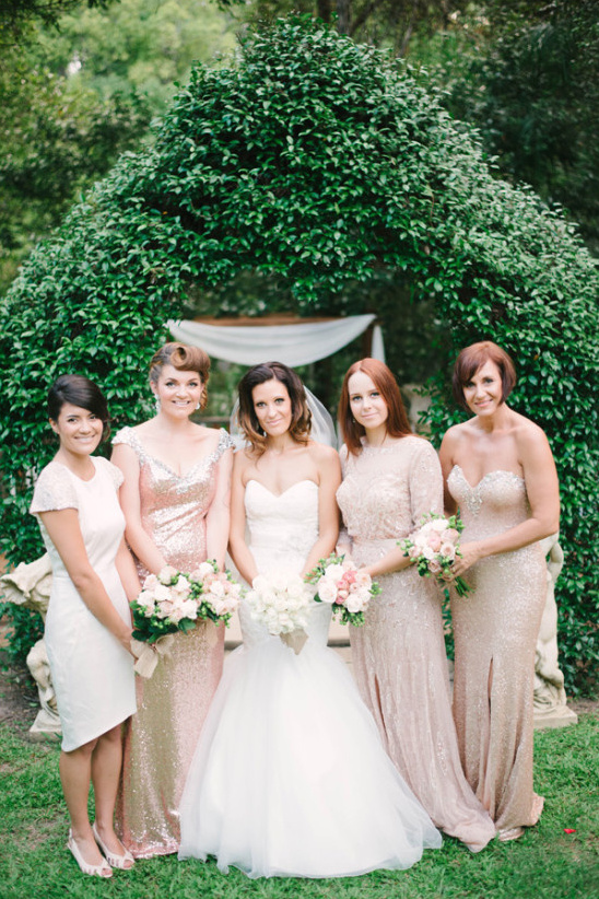 champagne colroed bridesmaids