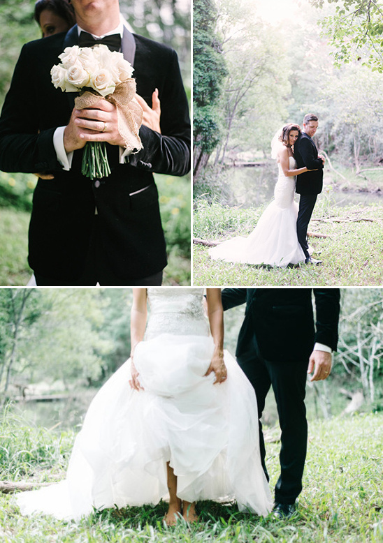 velvet suit jacket and bride with no shoes