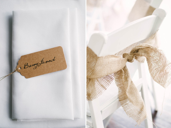 burlap wrapped seats and simple place card tags