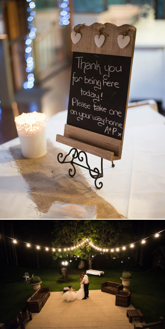 wedding favor sign and outdoor wedding lighting ideas