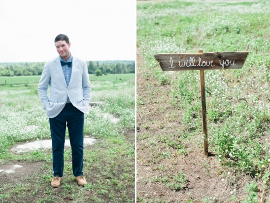 blue and tan groom look with rustic wooden wedding sign