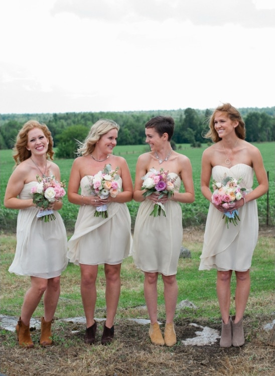 cream bridesmaid dresses with leather booties
