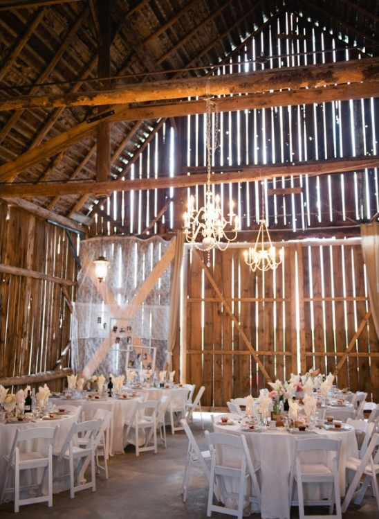barn reception lit by chandelieres