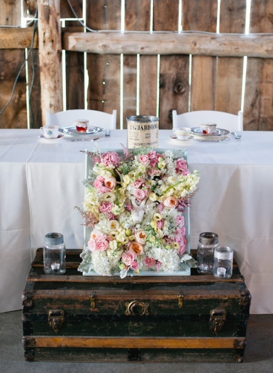 antique trunk in front of the sweetheart table