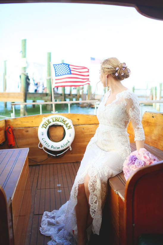 arrive to your wedding on a boat