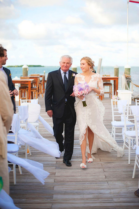 walking down the aisle on the docks